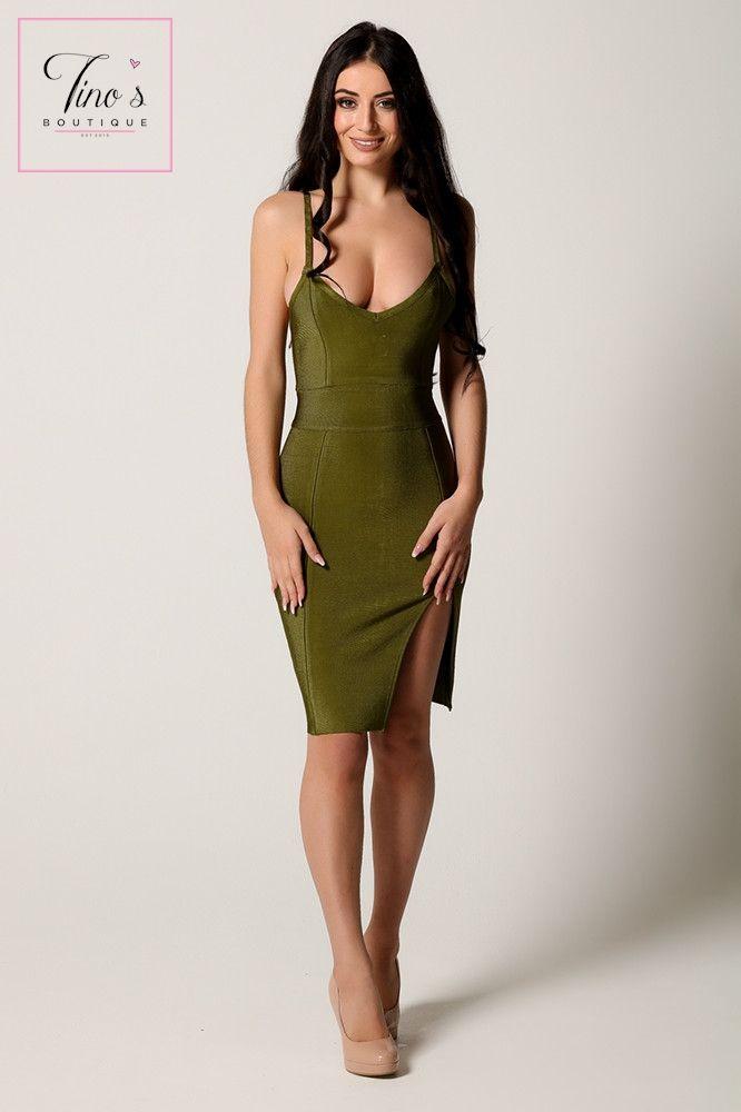 'Evie' Green Plunge Detail Bandage Dress