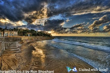 Gorgeous sunset on the beach at Old Jaffe by Ron Shoshani. The ancient city of Jaffe is one of the oldest ports in the world, mentioned in the Bible as the city where the Prophet Jonah departed from.
