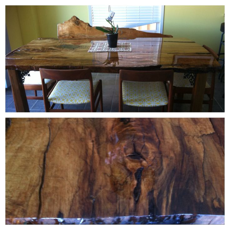 Live edge ash slab for dining table with matching bench