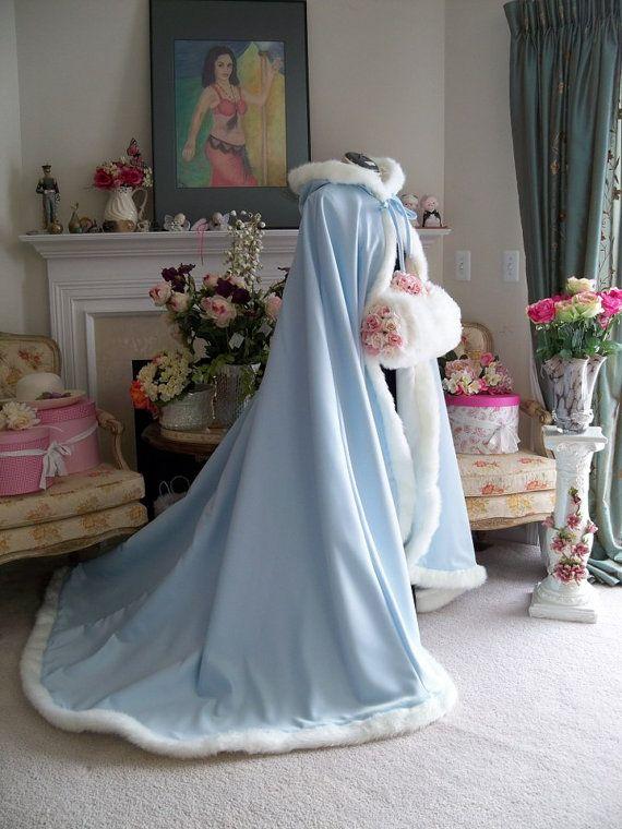 Frozen Sleeping Beauty Bridal Cape Extra long 58 / 78 Powder Blue / Ivory Satin Wedding Cloak Made in the USA