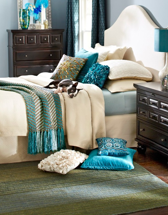 Update a classic bedroom with bold pillows and throws