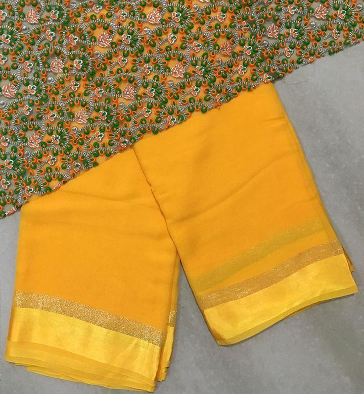 Pure Georgette satin shimmer border saree with thread work designer blosue material   Buy online sarees   Elegant Fashion Wear