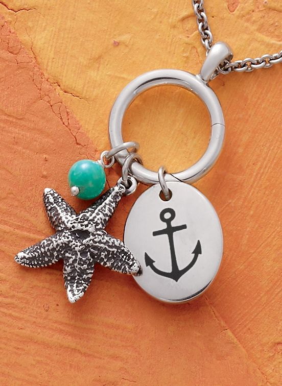 Summer Collection - Turquoise Bead Charm, Cape Starfish Charm, Oval Engravable Charm shown on a Small Circlet Charm Hold Pendant #JamesAvery
