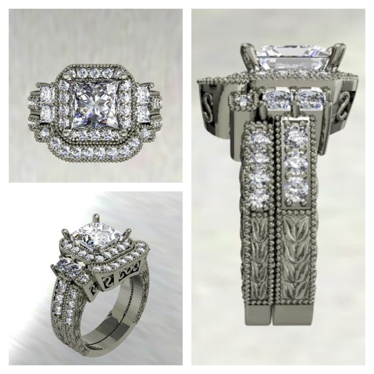 Computer generated design: Princess cut halo engagement ring and fitted wedding band. www.samuelkleinberg.com