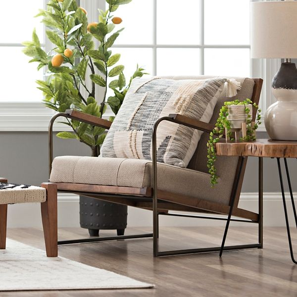 Upholstered Metal And Wood Martin Accent Chair Living Room Chairs Accent Chairs For Living Room Farmhouse Accent Chair