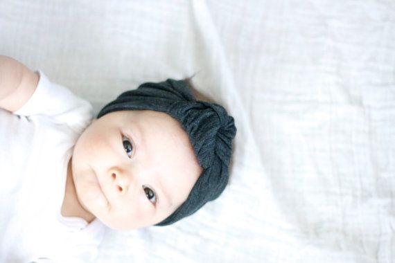 Sintel donker grijze knoop tulband hoofdband voor door MAMAOWLSHOP