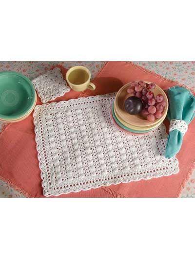 Crocheted cobbled lace place mat set designed by carol - Set de table crochet ...