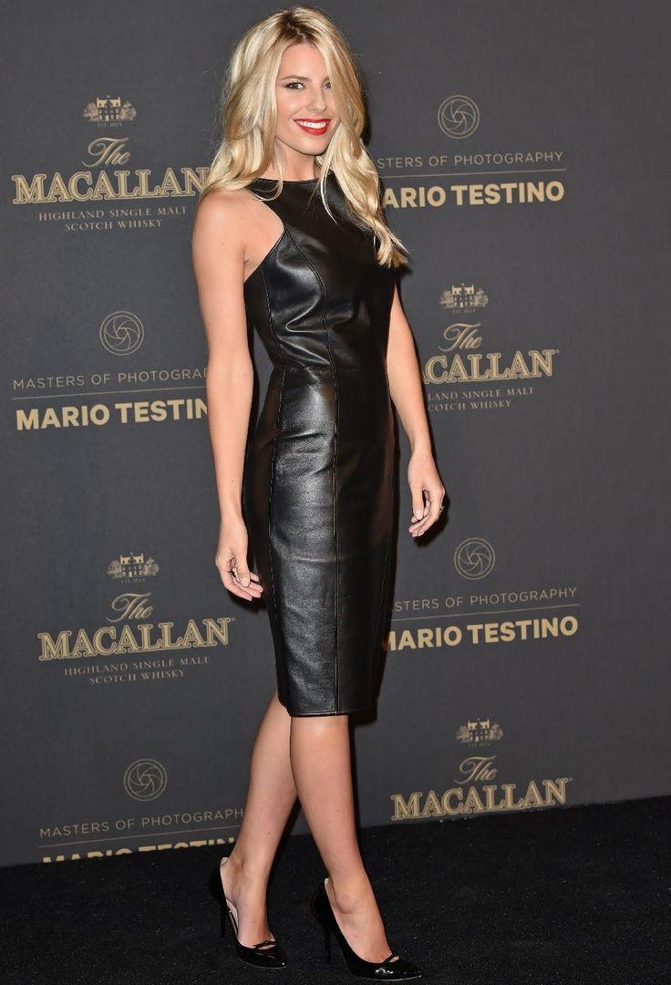 Mollie King Wears A Black Leather Dress Women In Leather