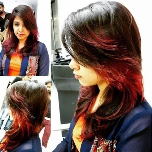feather cut with highlights for indian women