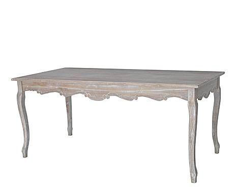 ROMANCE PROVENZAL: Mesa comedor en madera DM y chapa decapado – color natural