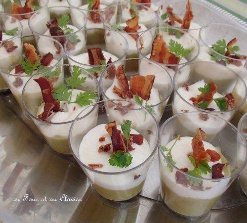 Verrine mousse de petits pois, crème et croustillant de lard