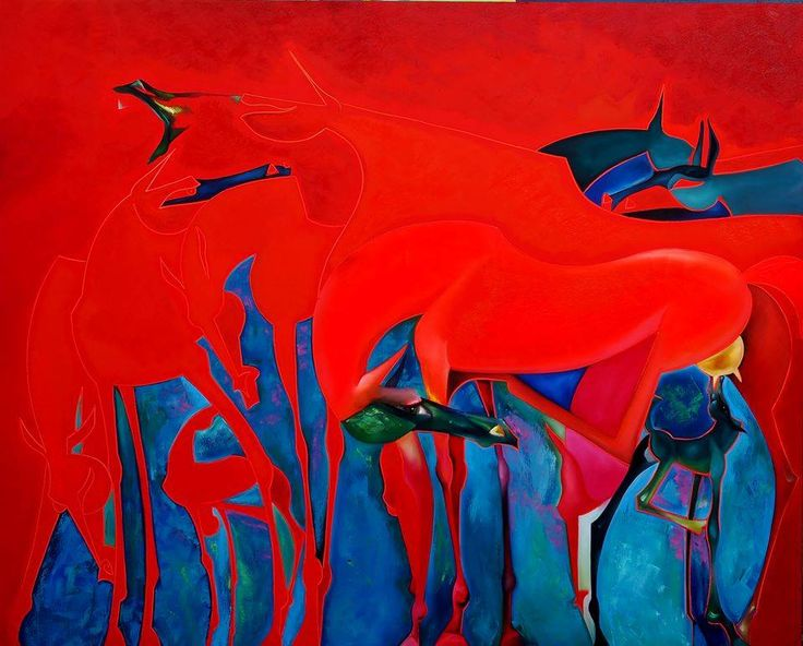 RED SUNY by Chadraabal Adiyabazar Equine Art for Sale - ART101 Art Gallery & Framing