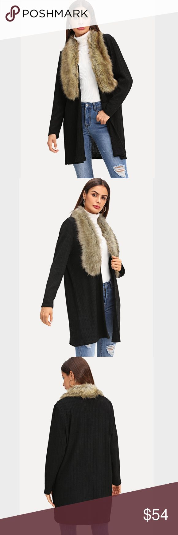 Faux Fur Collar Open Black Cardigan Black Cardigan Hits above knees Vegan Fur Co…