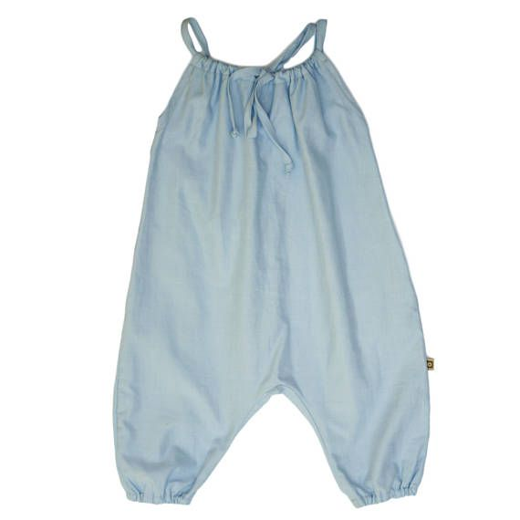 Organic Chambray Girls Summer Playsuit with thin straps Baby