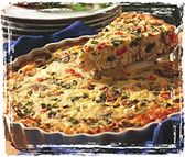 BACON CHEESEBURGER QUICHE: 1 lb. very lean hamburger 1 small chopped onion 4 slices crisp-cooked bacon, chopped in bits 3 eggs 1/2 cup mayonnaise 1/2 cup half-n-half 8 oz. shredded cheddar or Swiss cheese garlic powder to taste (optional) white pepper