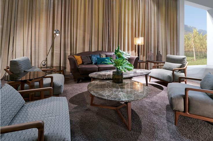 Coffee Tables ZEN with Marbel Top designed by Tiziano Bistaffa with Armchair INDIGO designed by Leonardo Dainelli