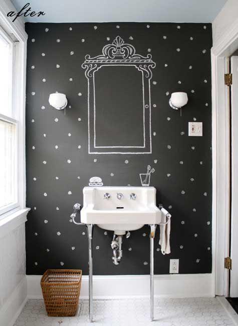 Chalkboard /: Polka Dots, Decoration, Chalkboards Paintings, Chalkboard Paint, Bathroom Wall, Bathroom Idea, House, Powder Rooms, Chalkboards Wall