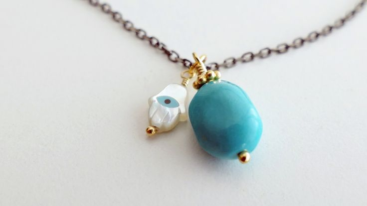 Necklace from silver chain with Turquoise and fatima hand -Price:23€