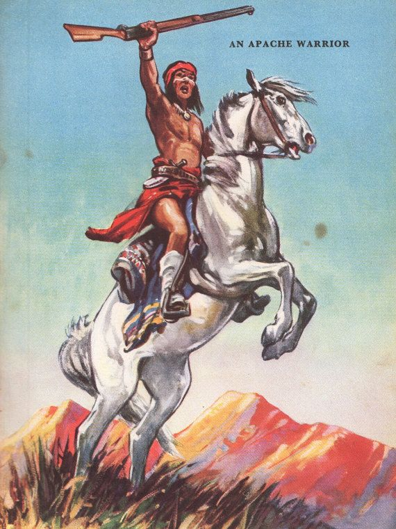 SALE antique print INDIAN Apache Indian Warrior 1950s vintage print Cowboys and Indians western decor wild west, boy bedroom decor Indian on Etsy, $18.95