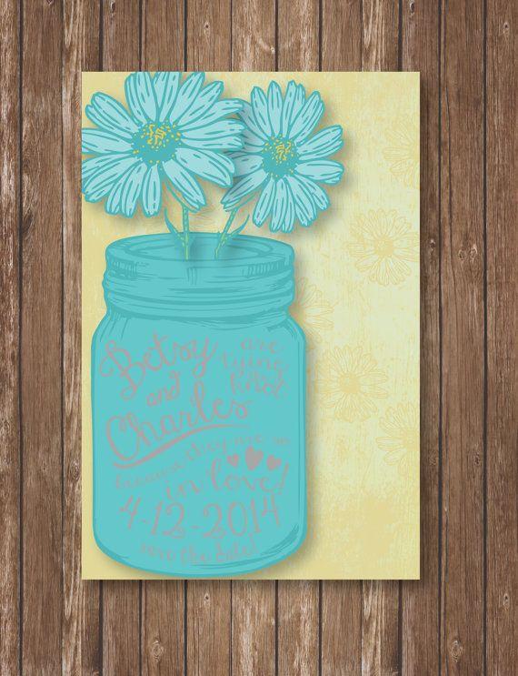 Printable Save The Date: Mason Jar - Custom Wedding, Country, Vintage, Daisey on Etsy, $12.00