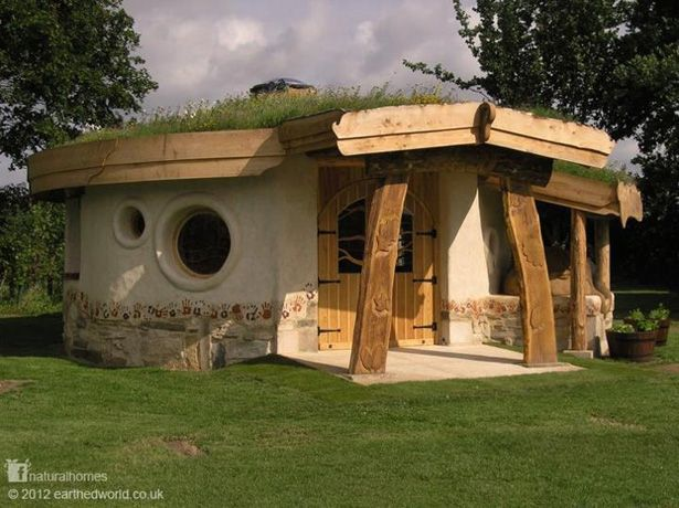 This is a cob roundhouse called 'Back from the Brink' in Slimbridge, Gloucestershire, England at the Wildfowl and Wetland Trust.