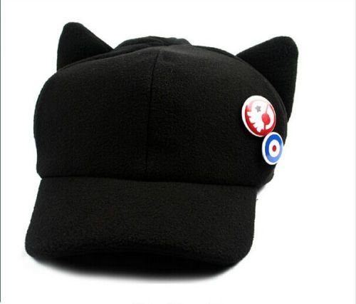 Cosplay Anime Evangelion 3.0: Q Shikinami Asuka Black Cat Ear Hat Cap with Badges new kawaii Cap Vestidos Superstar Town