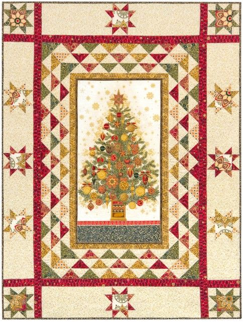 """""""O Tannenbaum"""" quilt designed by Better Off Thread. Features Winter's Grandeur. Fat Quarter Friendly! Holiday colorstory. FREE pattern."""