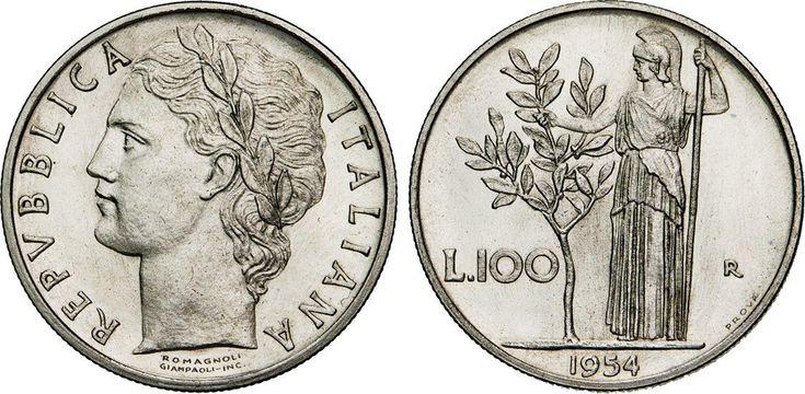 """NumisBids: Numismatica Varesi s.a.s. Auction 65, Lot 568 : ROMA - REPUBBLICA ITALIANA (1946-...) 100 Lire 1954 """"prova"""" Ac ..."""