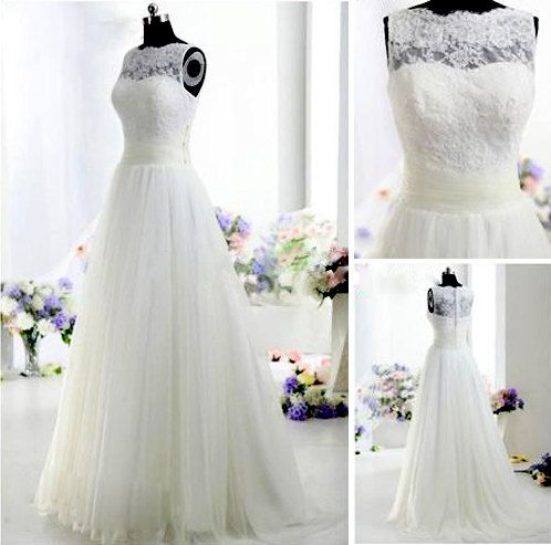 2013 ivory Lace A Line wedding dresses with short by dressofshop