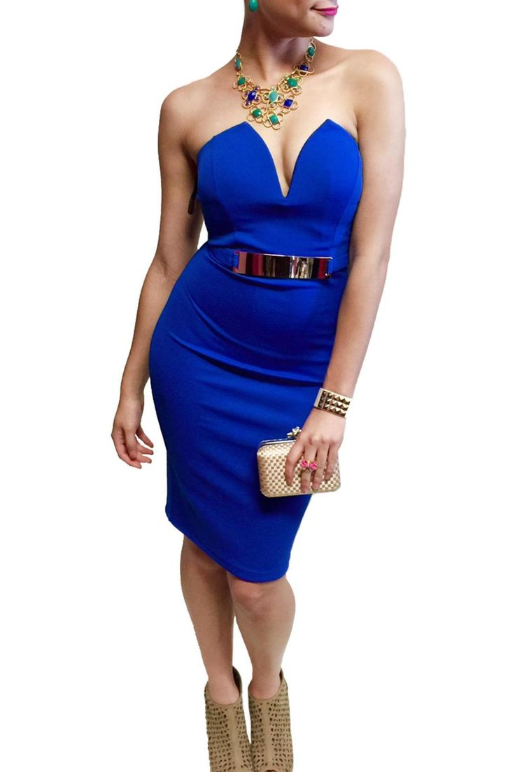 This sexy bodycon dress is perfect for any occasion! The form fitting material and gold plate belt shows off your beautiful curves! Pair this with wedges for a casual day around town or some pumps for a sexy night out. Back zipper closure.   Cobalt Bodycon Dress Clothing - Dresses - Strapless Las Vegas