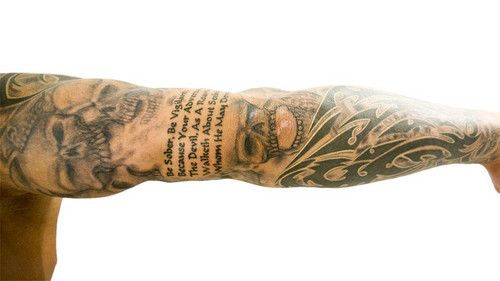 randy orton 39 s wwe tattoo sleeve beautifully done skulls and a bible text 1 pet 5 7. Black Bedroom Furniture Sets. Home Design Ideas