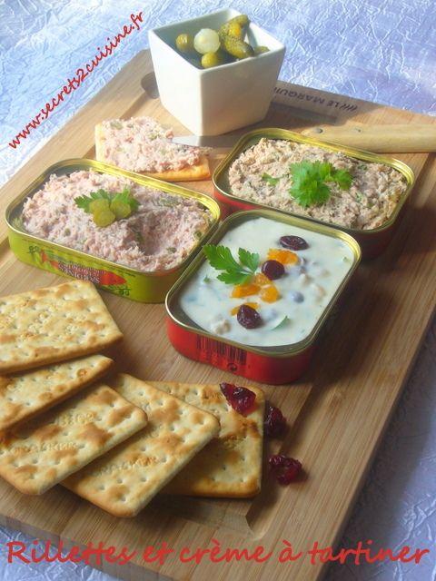 Rillettes de thon, rillettes de jambon et crème de fromage de chèvre pour un plateau télé salé