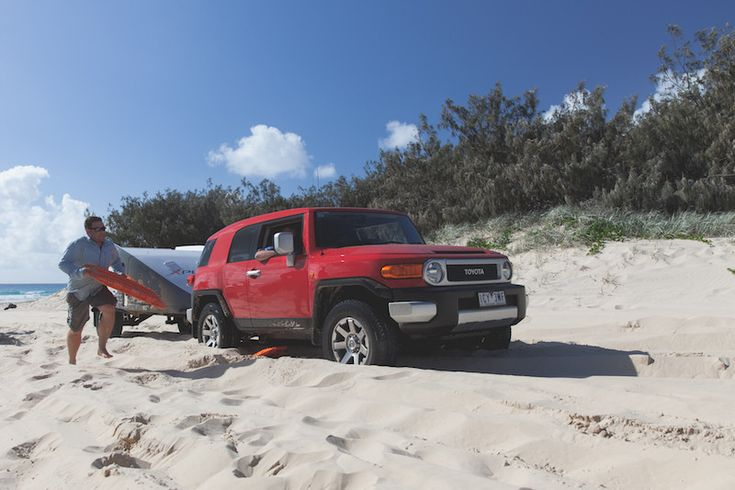 You'll see most people get stuck on Fraser Island when they're trying to go inland. Why? Because you have to drive uphill, and people lose momentum. Since so many people get stuck in the same place, the sand becomes incredibly soft and it all goes to hell. A good consistent 'run-up' paired with steady throttle control is essential to maintain momentum and prevent you from getting stuck.