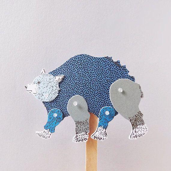 DIY Paper Puppet  BEAR by furzechan on Etsy
