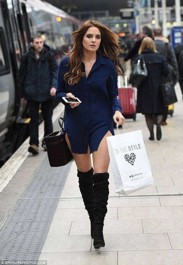 Stylish: Binky Felstead, 25, showed off not one but two outfits from her eponymous range as she made her way to In The Style's Manchester headquarters for a design meeting on Friday