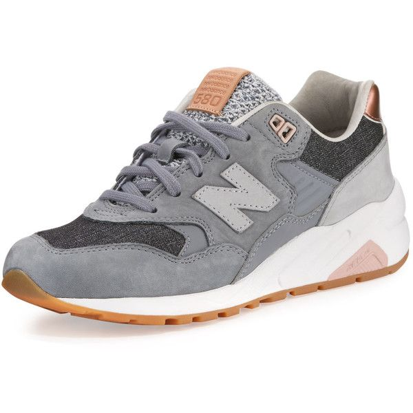 New Balance 580 Suede Low-Top Sneaker ($190) ❤ liked on Polyvore featuring shoes, sneakers, grey, gray shoes, metallic sneakers, lacing sneakers, grey shoes and suede shoes