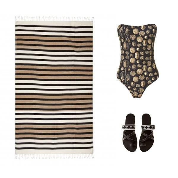 Get Instant Greek Beach Chic! #wecreateharmony #monamer #zalisandals #seayousoon  Shop the look here ▷ Mon a Mer bathing suit: http://bit.ly/1MxDrfR Sea You Soon towel: http://bit.ly/1LRnsYB Zali Sandals: http://bit.ly/1LMI0TE