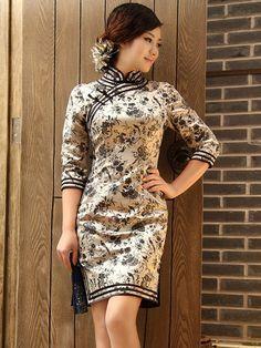 Black Floral 1/2 Sleeves Silk Cheongsam / Qipao Dress