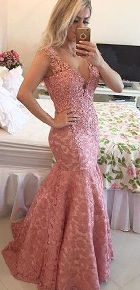 Sexy V neck Lace Appliques Mermaid Evening Dress
