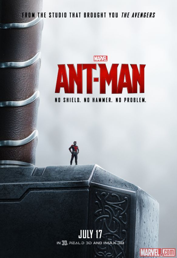 No hammer? No problem. Marvel's next big thing: #AntMan, in theaters July 17.