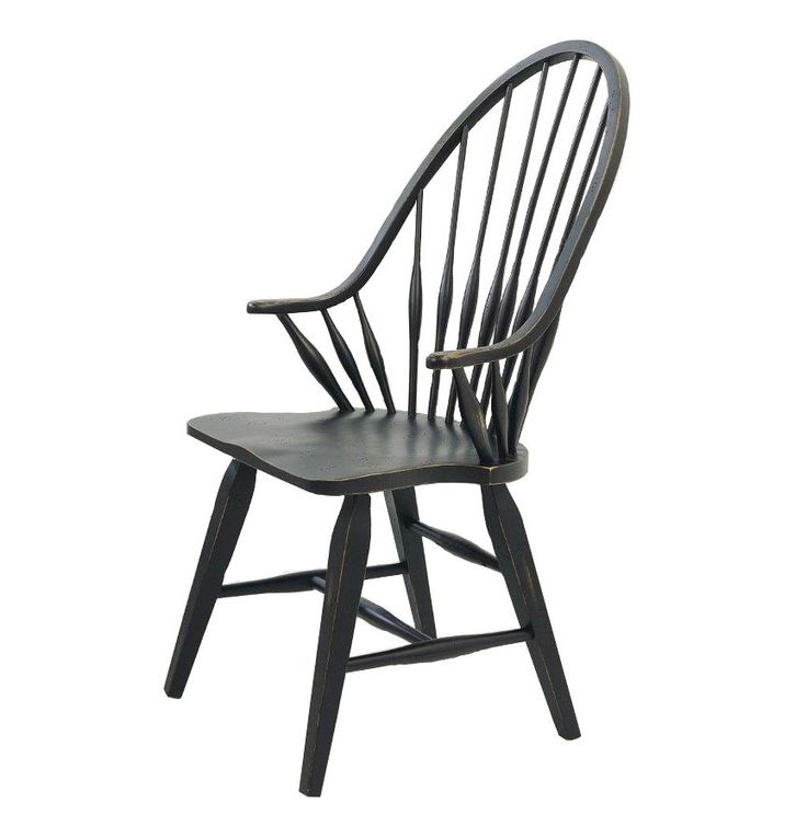 Attic heirlooms windsor dining arm chair in black by