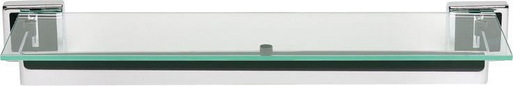 Atlas Homewares PDSF Paradigm Collection Tempered Glass Shelf 24 Inch Center Black leather Accessory Shelf Glass
