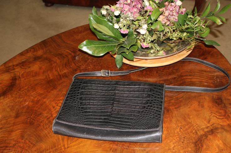Real crocodile and leather shoulder belt 70s