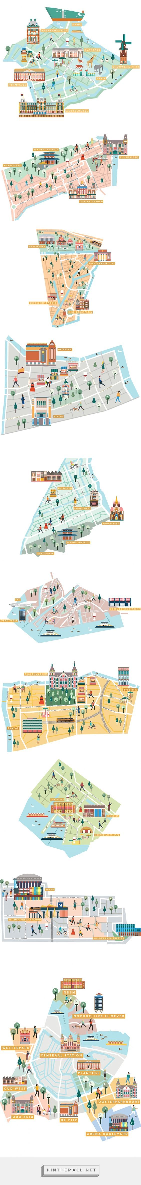 IAMSTERDAM Neighborhoods guide maps on Behance... - a grouped images picture - Pin Them All: