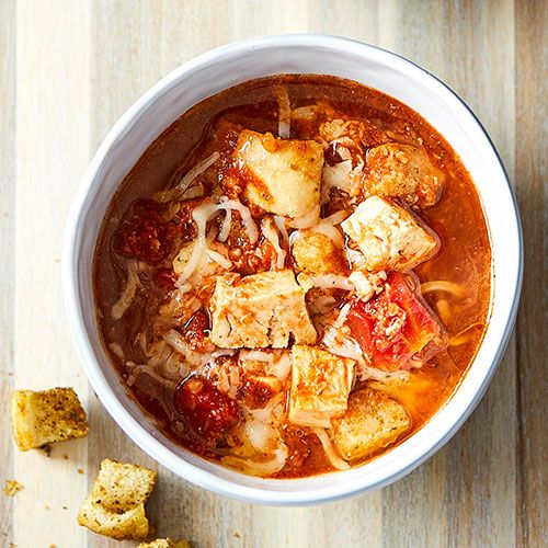 Give this soup some crunch with homemade croutons made in the microwave!