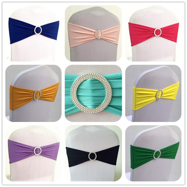 Factory Wholesale 100pcs Elastic Stretch Chair Bow Sash Lycra Spandex Chair Cover Bands With Round Buckle For Banquet Wedding
