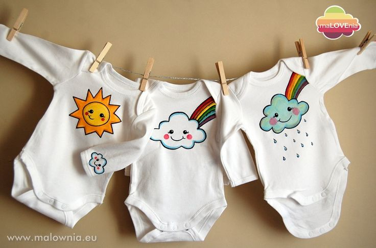 Bodysuits for children with smiling clouds, sun and colorfull rainbow