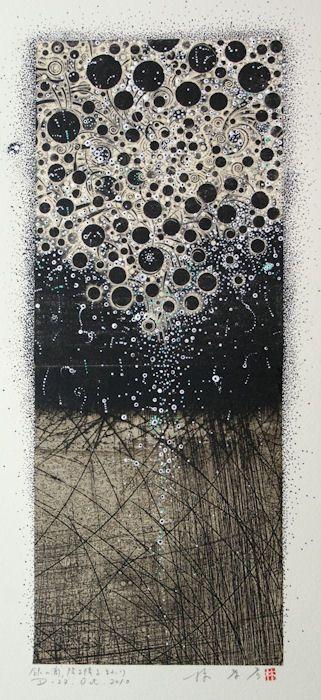 D-27.Oct.2010 銀のしずく降る降るまわり painting, collage on my original printed paper collage 林孝彦 HAYASHI Takahiko 2010