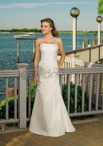 Abiti da Sposa Senza Spalline-Taffettà con fagioli ornare abiti da sposa senza spalline