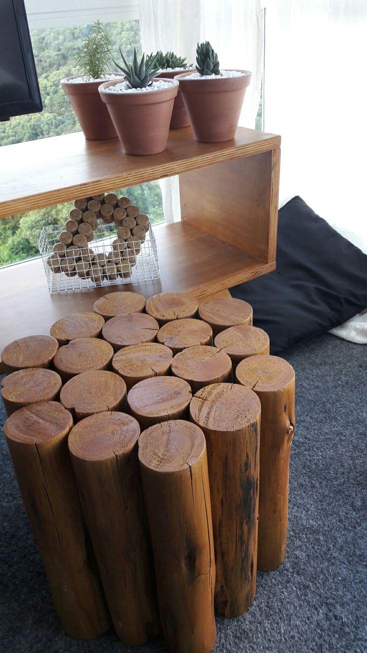 DIY banquinho de troncos.